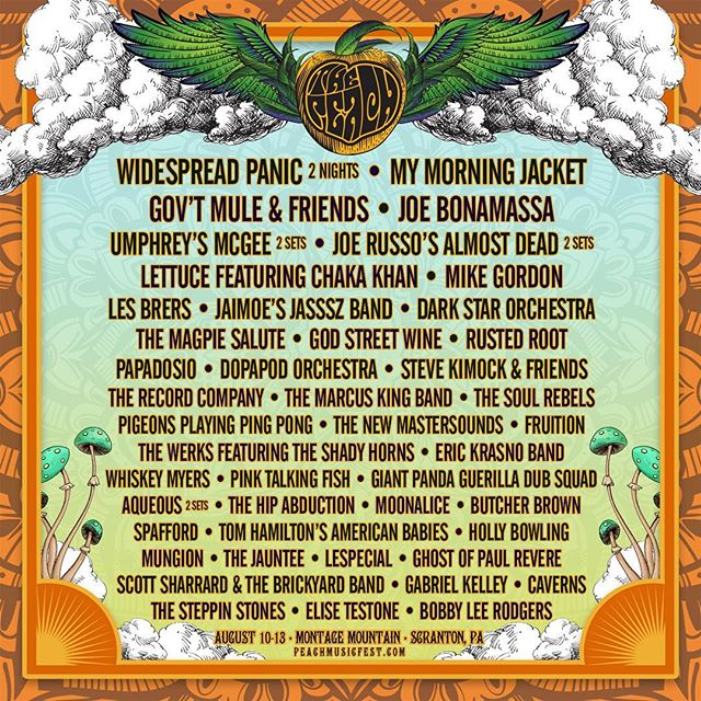 PSYCHED to be playing this year at @peachmusicfest ! See you on The Mountain ! 🌲Tickets available at: thepeachmusicfestival.com