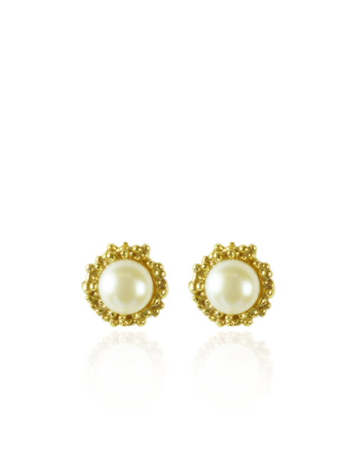 White Pearl Gold Stud Earrings Keishi Jewellery