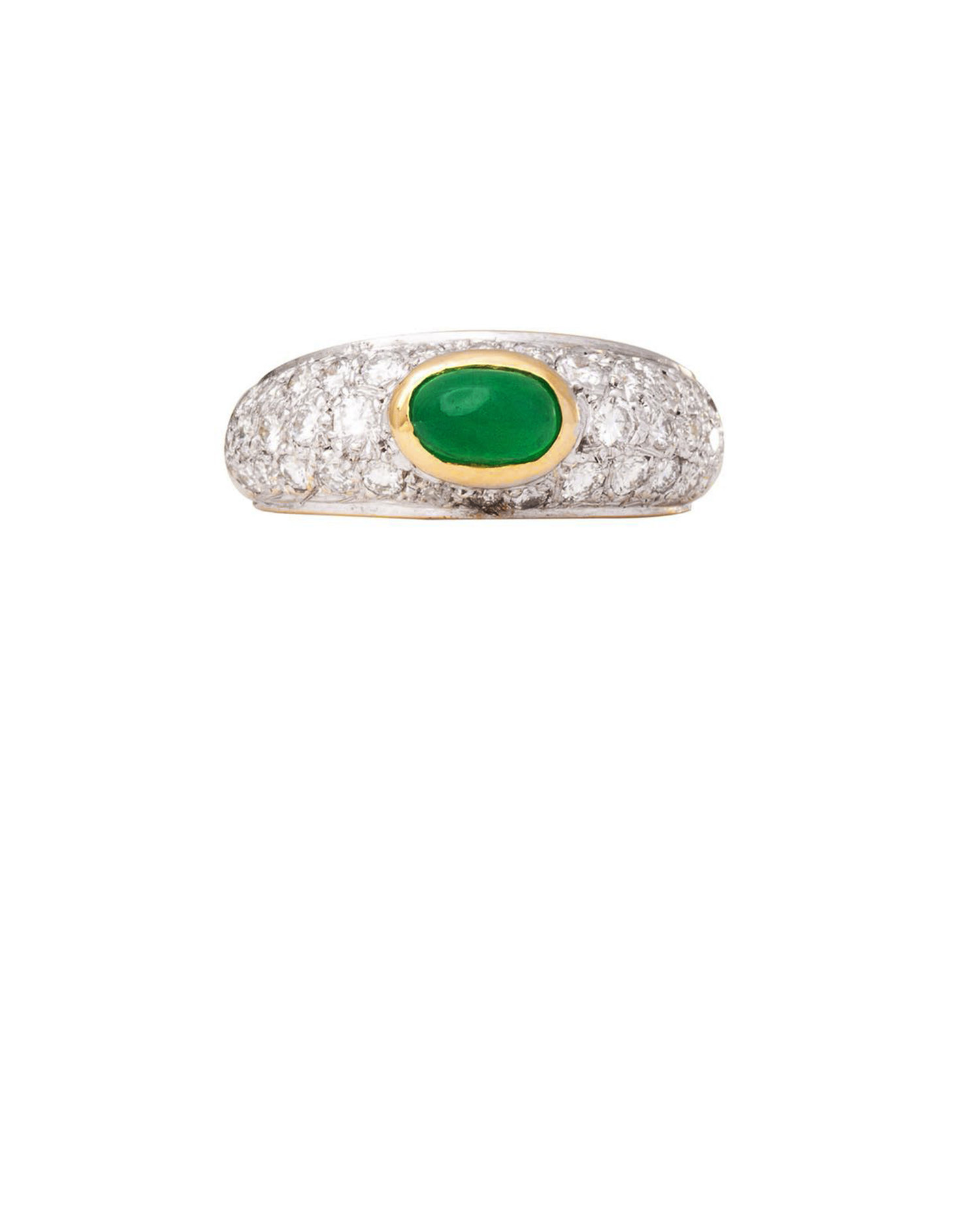 18ct Bi Gold Emerald And Diamond Ring Keishi Jewellery