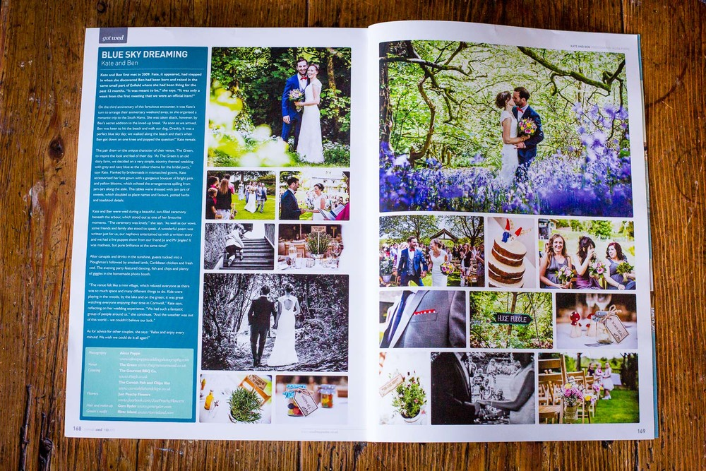 REAL WEDDING FEATURE // KATE & BEN   the feature of Ben&Kate's lovely wedding at   The Green   in   Bodmin Moor, Cornwall.  Wedmag  launched this latest issue just in time when the bluebells started covering our cornish woods in a magic blue carpet again start of may. I hope there are some left when I'm back there for another wedding shoot  next week!