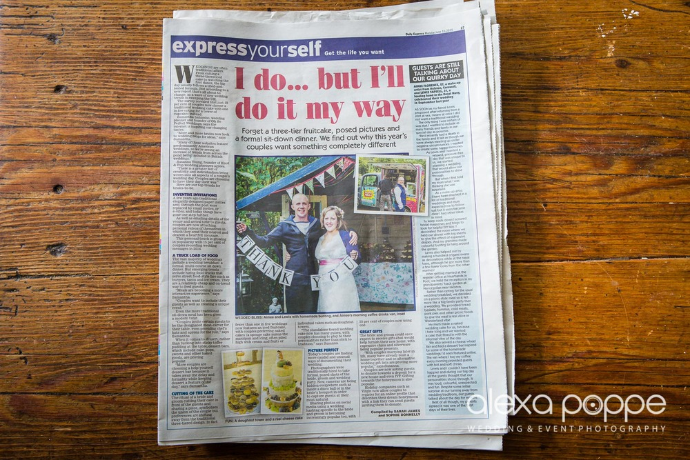 Aimee & Lewis beautiful DIY wedding  featured in the Daily Express in an article about new wedding trends