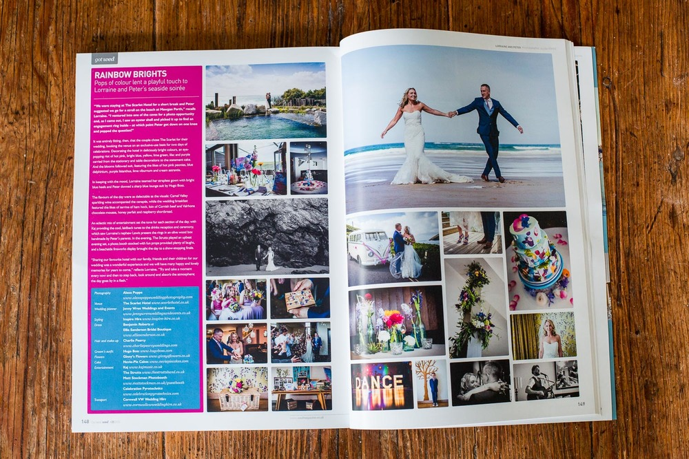 REAL WEDDING FEATURE // LORRAINE & PETER great to be  featured yet again in wed magazine, one of the Uk's leading wedding magazines, with Lorraine and Peter's stylish seaside soiree at The Scarlet Hotel in Cornwall back in may.
