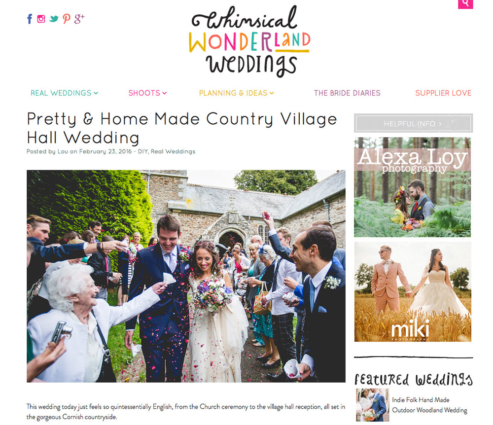 REAL WEDDING FEATURE // ZEPHY & GEORGE  Zephy and George's homemade Country Village Hall Wedding looks great in   Whimsical Wonderland Weddings   feature. The image above is just a screencrab, so please click on   here   if you want to read more and get inspired for your own DIY wedding..