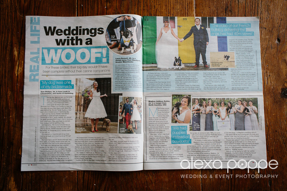 MAGAZINE FEATURE// WEDDINGS WITH A WOOF! I love wedding dogs! Laura and James were married in St Ives and  made a video of their french bulldog delivering the rings.. It had 40m views on youtube!! Great feature in a recent Lovesundays magazine about weddings with a woof!   Here is the link to the video their friend Andrew made for them before the wedding, so cute:  https://www.youtube.com/watch?v=TXQdKTLPSK8