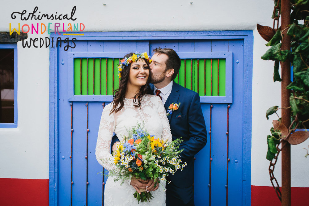 Lynsey and Ricky's colourful, cool and alternative wedding at Lowerbarns in Cornwall features on the fantastic   whimsicalwonderlandweddings   blog, follow the link and get inspired for your own small and intimate wedding..