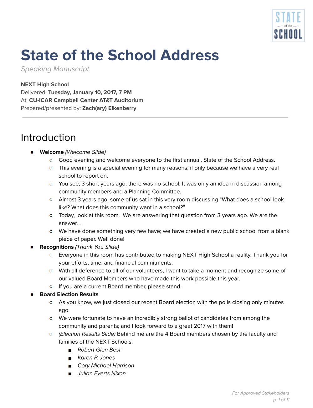 Along with the video recording, check out the CEO's speaking manuscript of the State of the School Address (click image above).