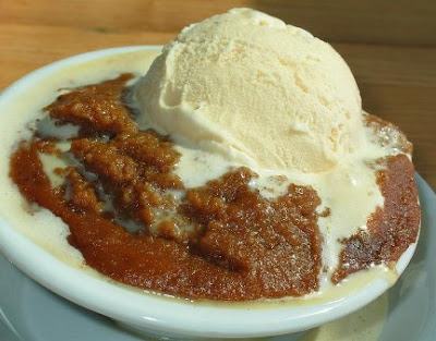 Hasty pudding topped with vanilla ice cream, Courtesy of Road Food.com