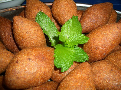 Kibbeh balls made with pine nuts, recipe below captio