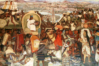 A Diego Rivera mural of a market in ancient Mexico City during the Aztec Empire