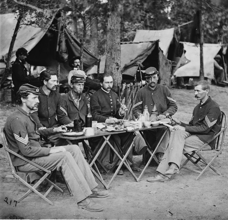 Non commissioned officers' mess of Company D, 93d New York Infantry, 1863, Courtesy of the Library of Congress