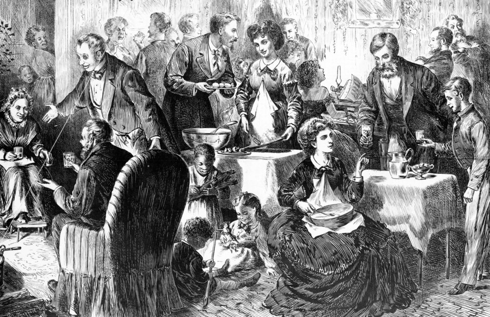 W.L. Sheppard drawing entitled Christmas in the South, Eggnog Party, 1870, Courtesy of the Library of Congress
