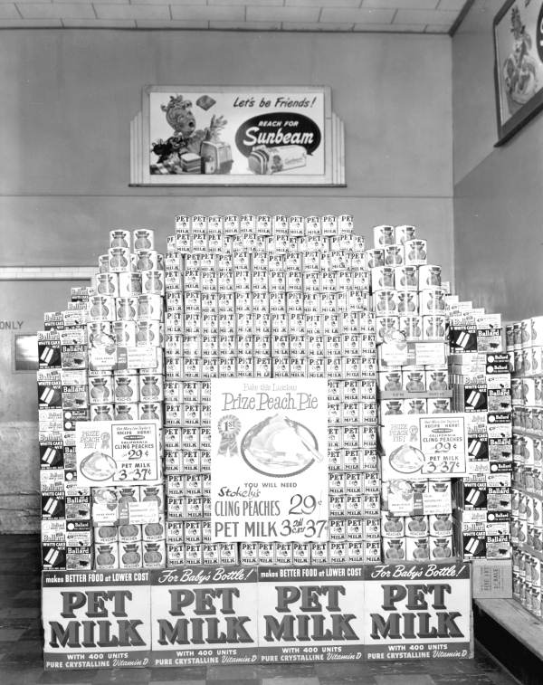 Pet milk display, Jacksonville, Florida, 1949, Courtesy of the Florida State Archives Florida Memory Project
