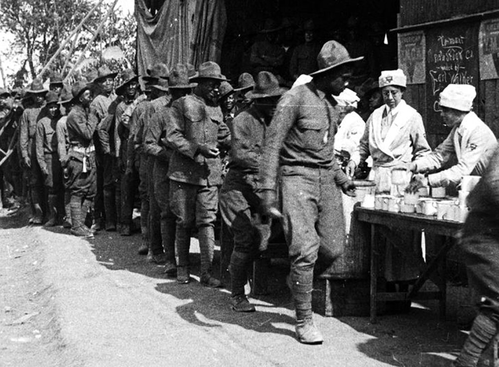 African-American soldiers on a soup line at a YMCA in 1917, Courtesy of the New York Public library