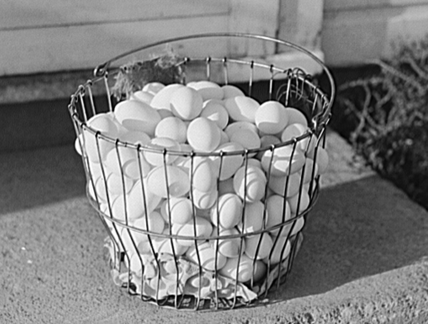 A basket of eggs from a food co-op in Waterloo, Nebraska, 1941, Courtesy of Library of Congress