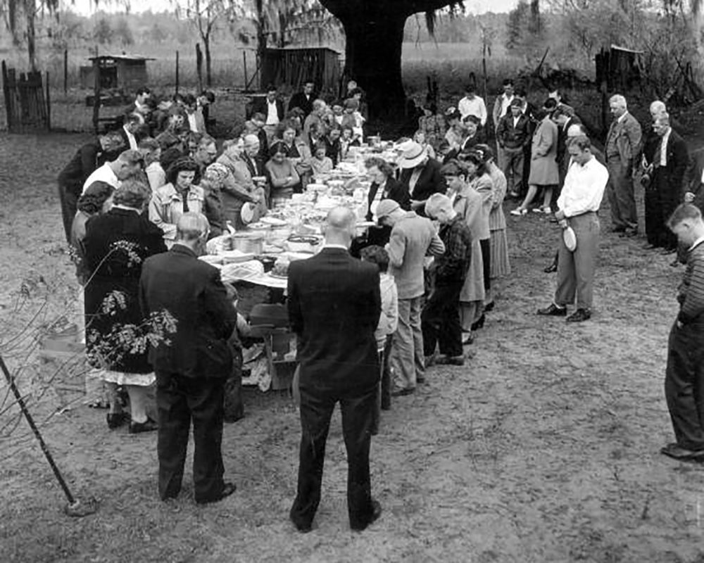 Praying before the meal in 1948, Courtesy of State Archives of Florida, Florida Memory Project
