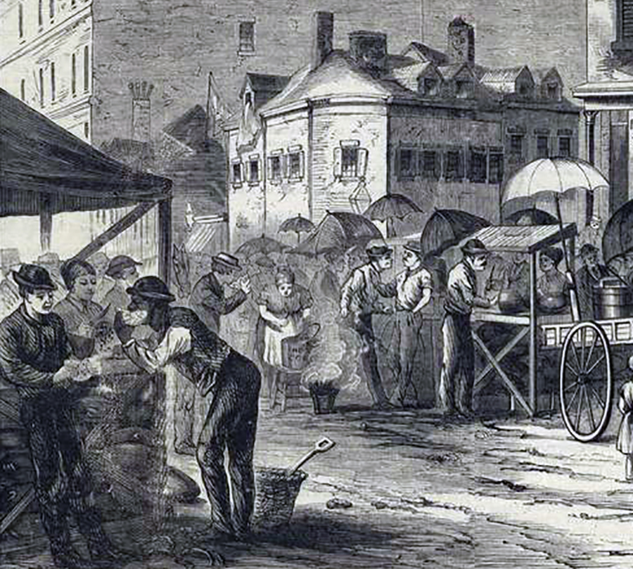 Food market scene with street vendors, Courtesy of the New York Public Library