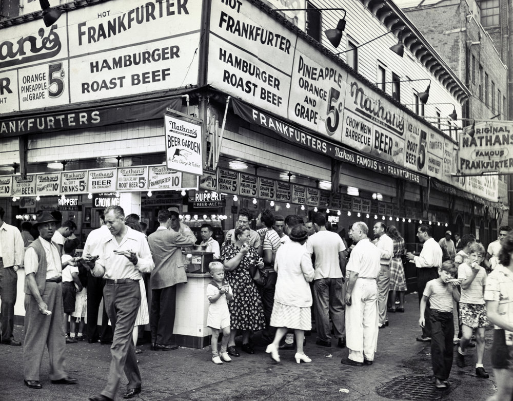 Crowd at Nathan's Coney Island Stand, New York, 1947, Courtesy of the Library of Congress