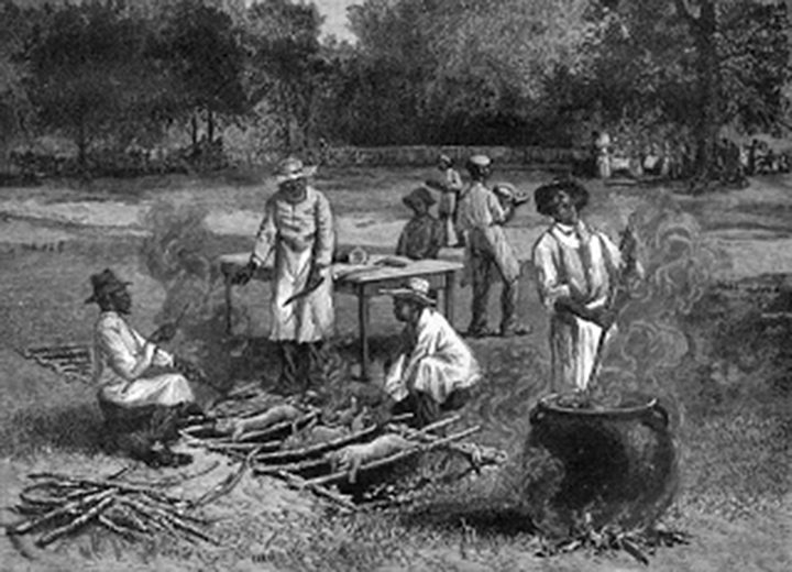 A Southern Barbecue, a wood engraving from a sketch by Horace Bradley, published in Harper's Weekly, July 1887.
