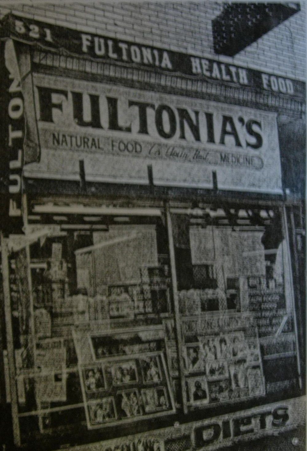 The exterior of Dr. Fulton's store circa 1980s
