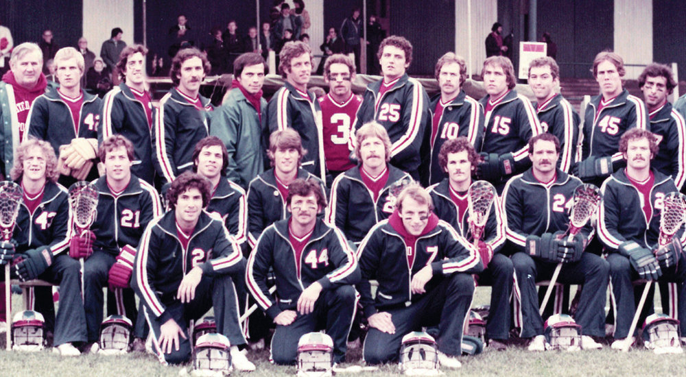 1978 US National Team. Lost of Hall of Famers in this photo. Tom Postel wearing 44 on the front row, Courtesy of US Lacrosse