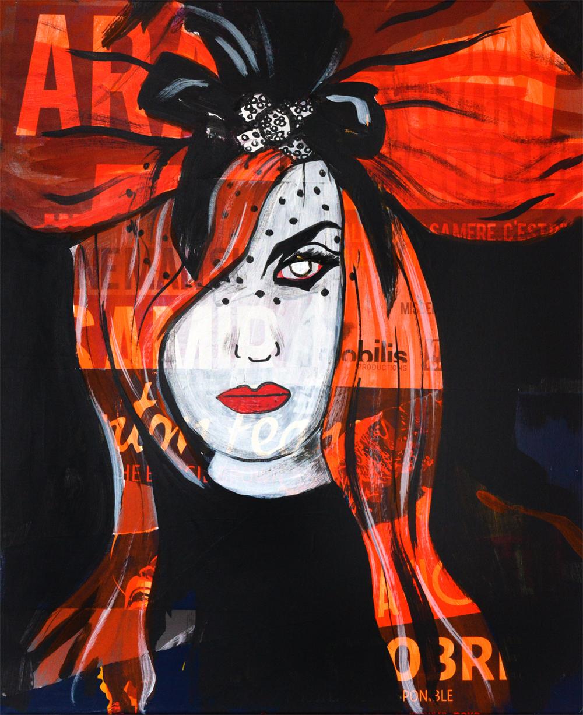 Alisson Gothz I     acrylique et collage sur toile 65 x 54cm 2014