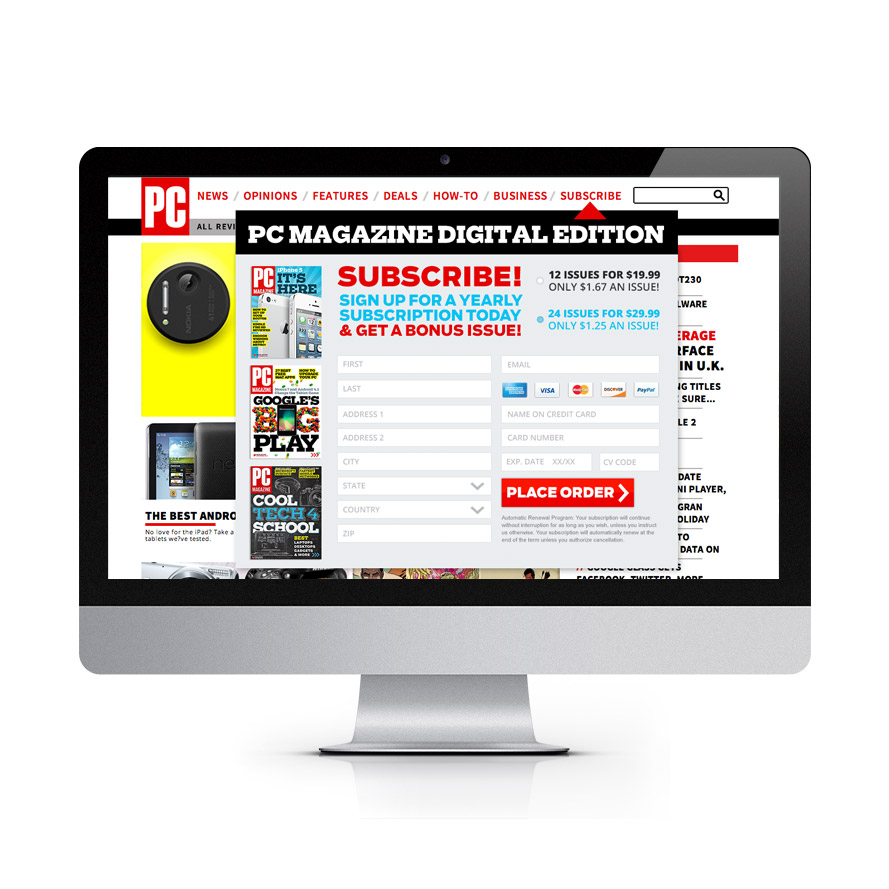 PC Mag Dropdown Subscription Form