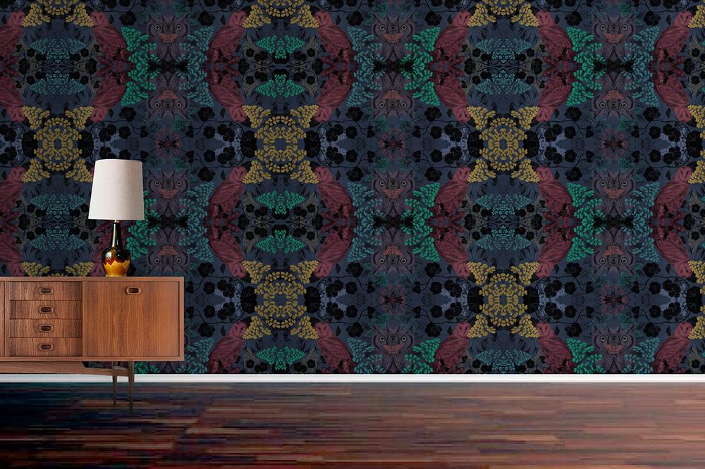 fig 1. Repeat pattern, wallpaper of owls in foliage