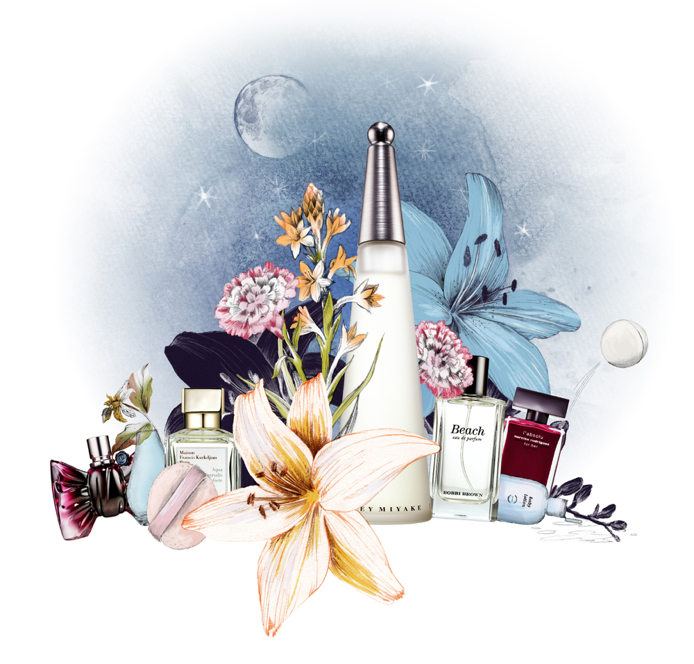 fig. 1. Magazine illustration: 6 scents, with the winner in the middle, combined with their scents in floral illustrations