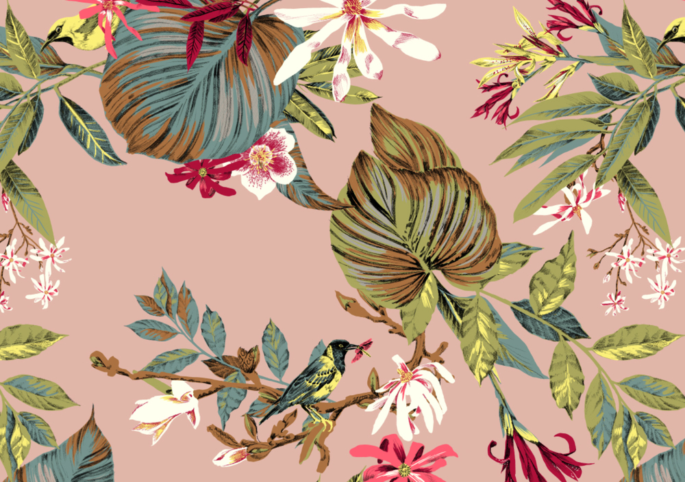 fig. 1. Pattern: bird with dragonfly, tropical foliage and lots of magnolia flowers