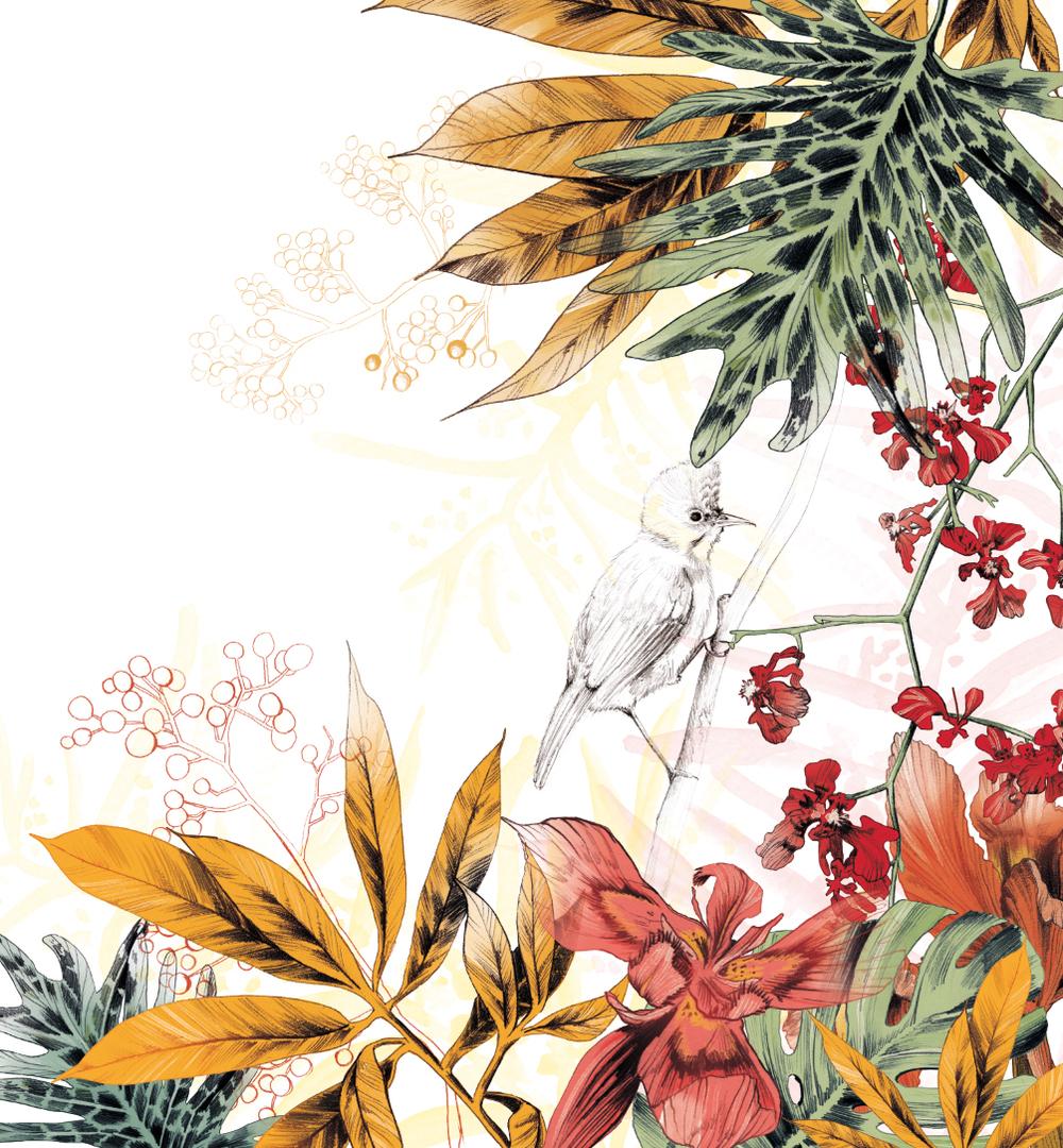 Fig. 6. Cabin Mural: A tropical bird in foliage