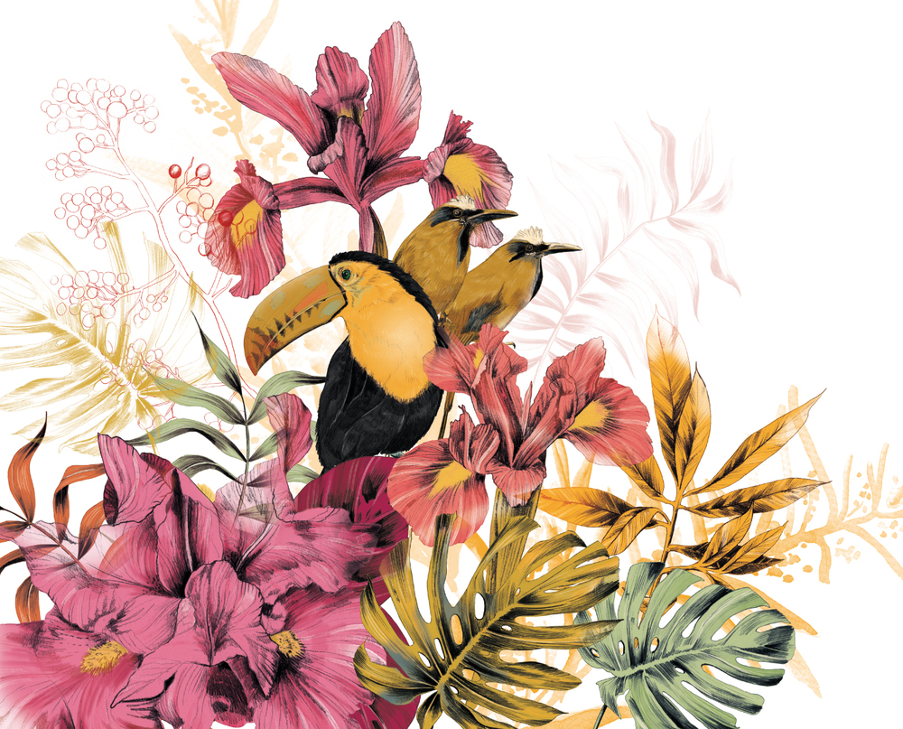 Fig. 8. Cabin Mural: tropical flower, a tucan and motmot birds