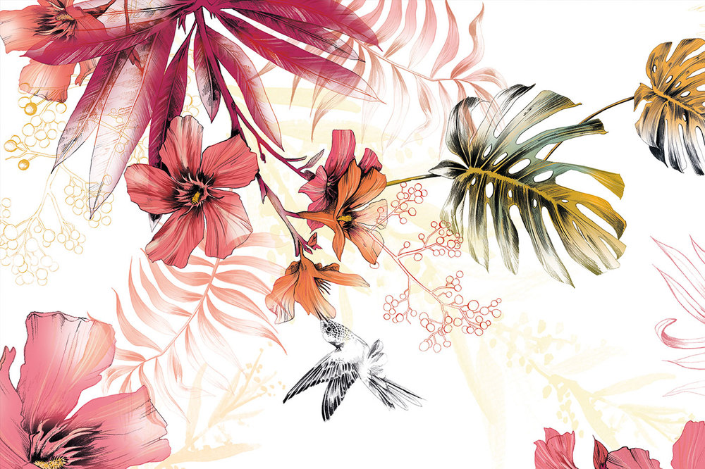 Fig. 2. Detail of Reception Mural: Oleander, tropical leaves, berries and a hummingbird