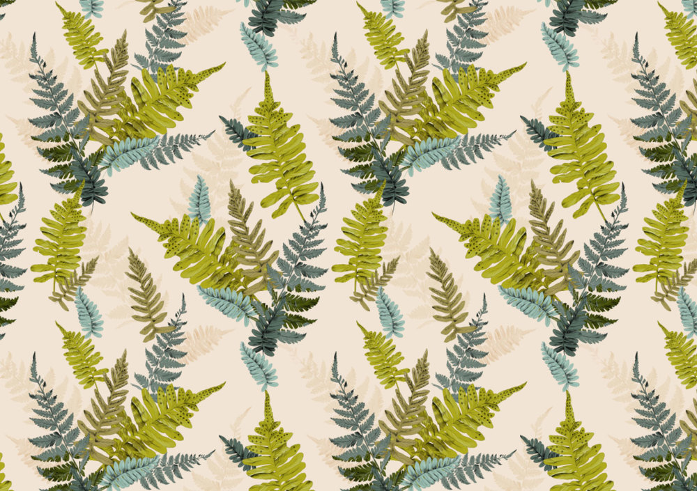 Fig. 1. Repeat Pattern fern leaves on white linen