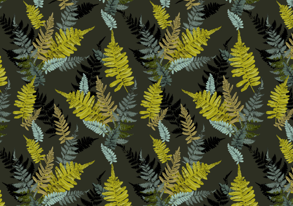 Fig. 5. Repeat pattern fern leaves on dark green
