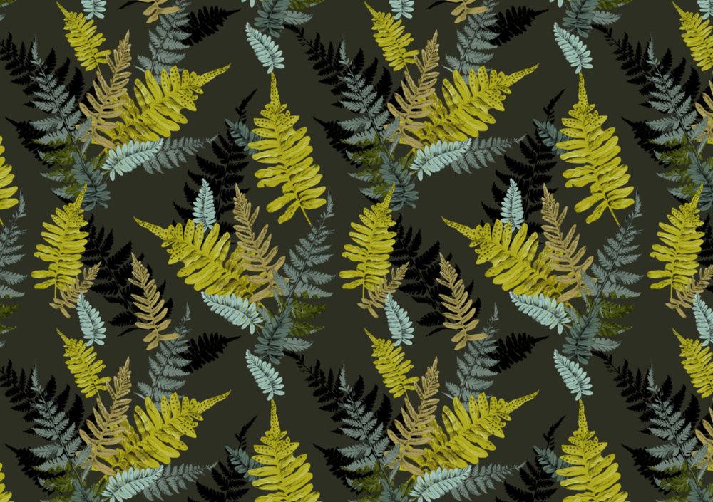 Fig. 5. Repeat pattern fern leaves on dark green