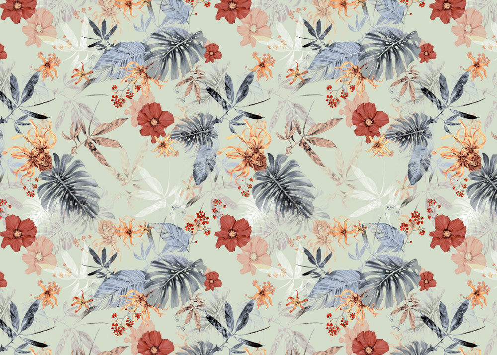 fig. 2. Tropical Daylight repeat pattern; hibiscus, ylang ylang and palm leaves