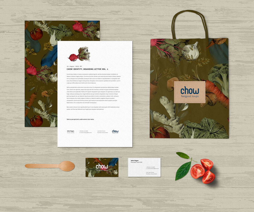 fig. 3. Soup bar identity; paper bag, stationery, business card with vegetable pattern