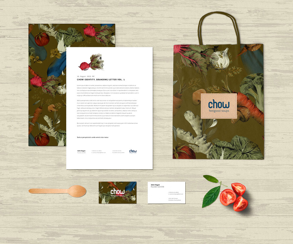 fig. 5. Soup bar identity; paper bag, stationery, business card with vegetable pattern
