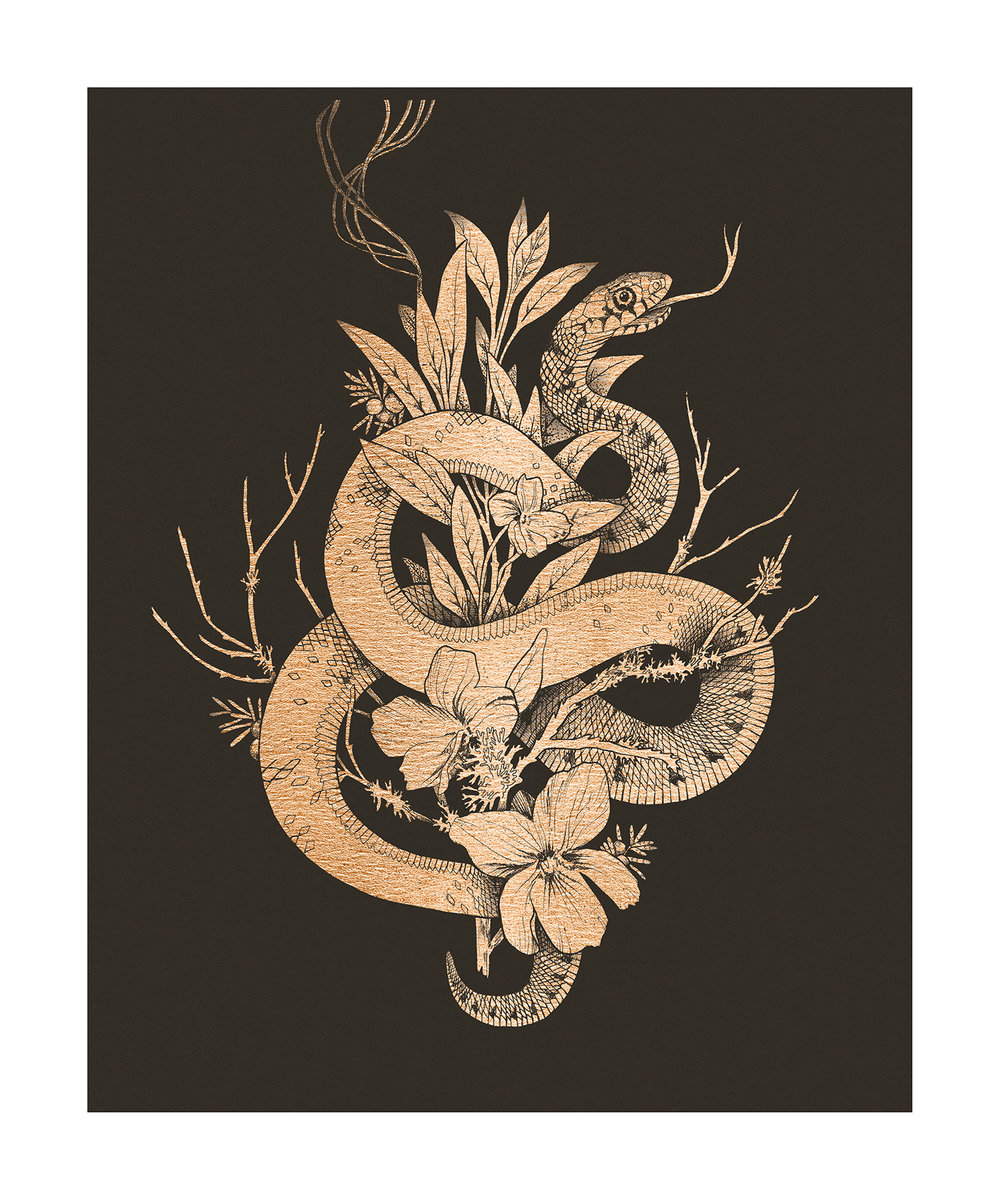 fig. 1.The rose gold foiled artwork, containing a snake, burning sage, oak branches and violets