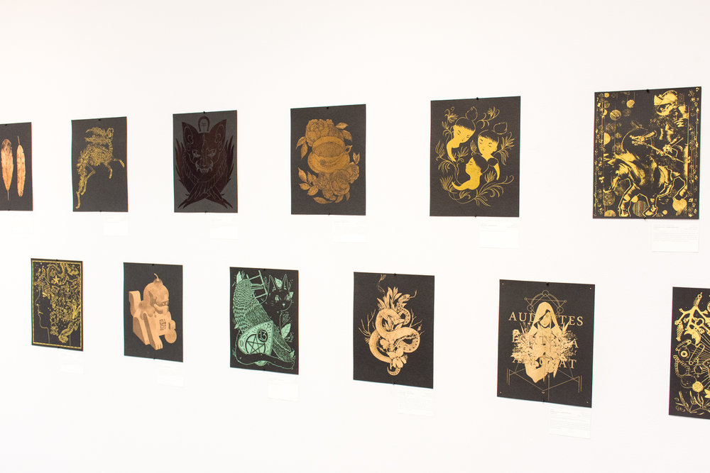 fig. 5. The Fortune Exhibition, my piece in the lower row middle (photo by Light Grey Art Lab)