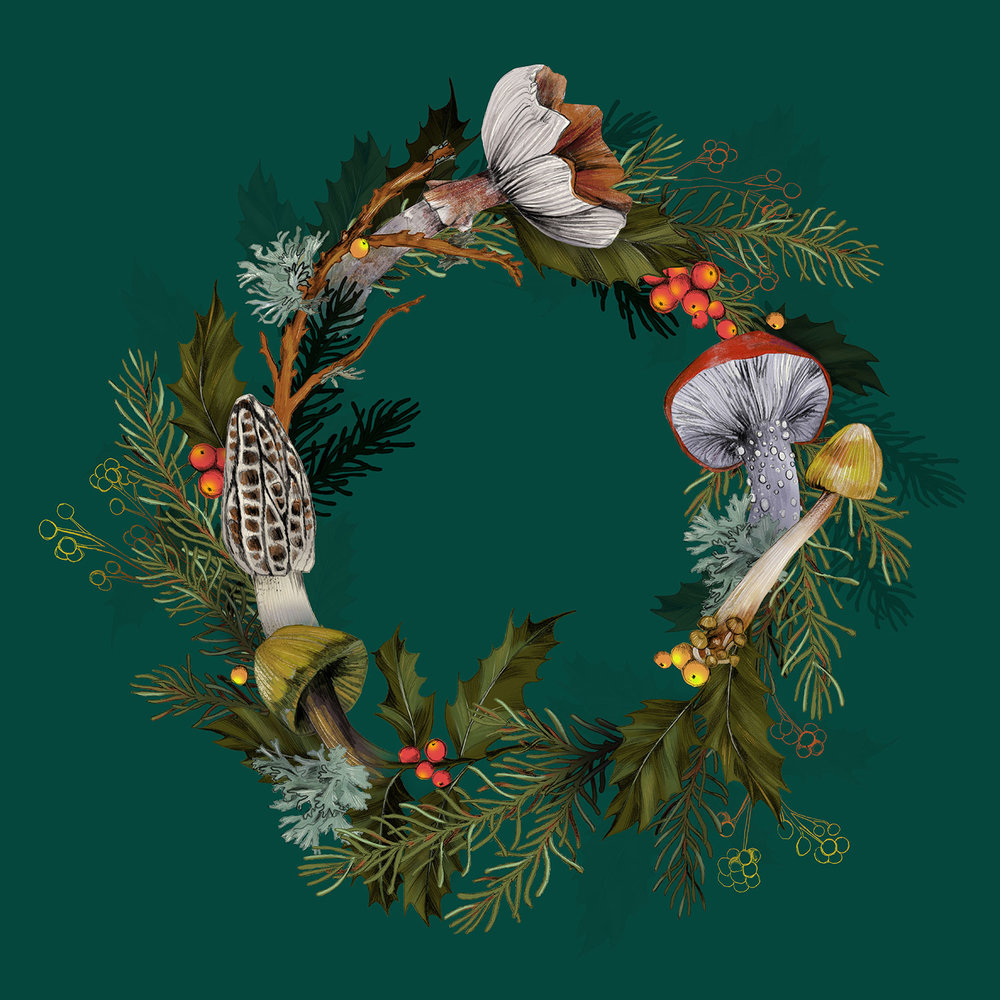 fig 1. Wreath with mushrooms, pine, holly, lichen and berries