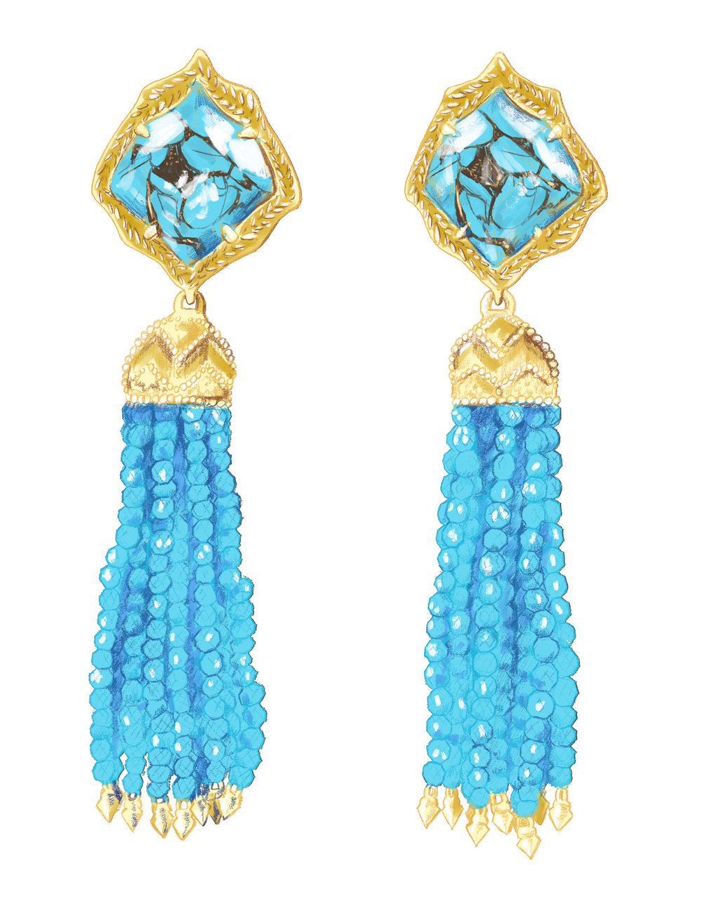 fig. 7. Misha Earrings in turqoise illustration