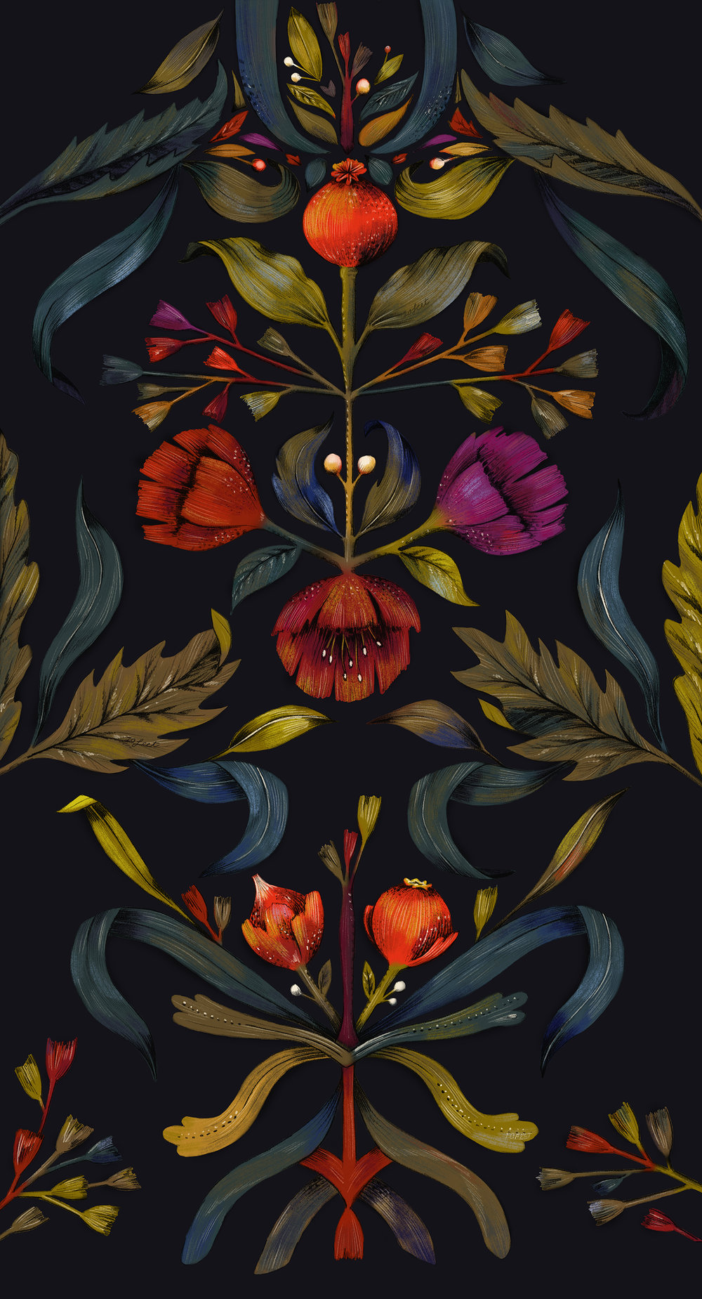 fig 1. The placement print, inspired by folk art, art deco and Golden Age paintings