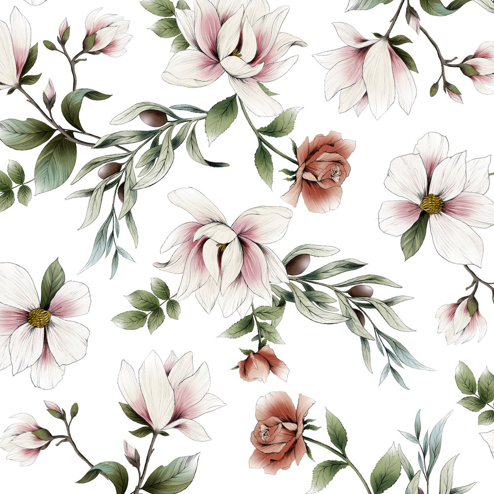 fig. 3. Magnolia, rose and olive branch pattern