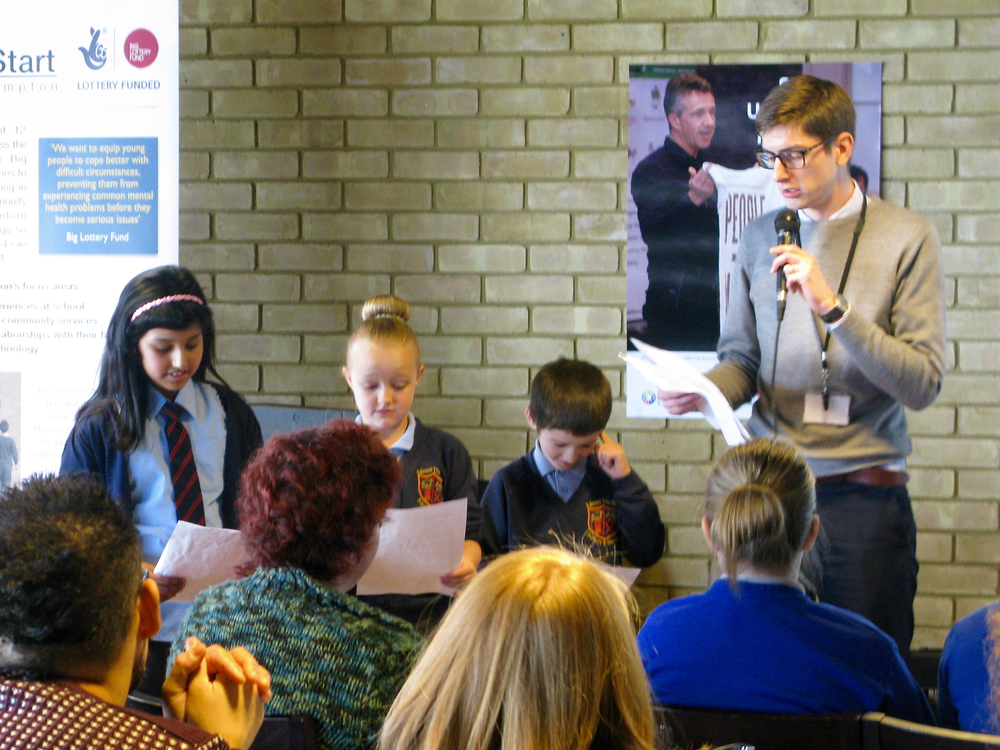 Young people from Edward The Elder Primary sharing their experiences of SUMO with teachers from other schools.