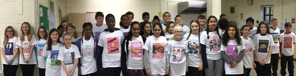 Getting Ahead students in their self-designed positive message T-shirts