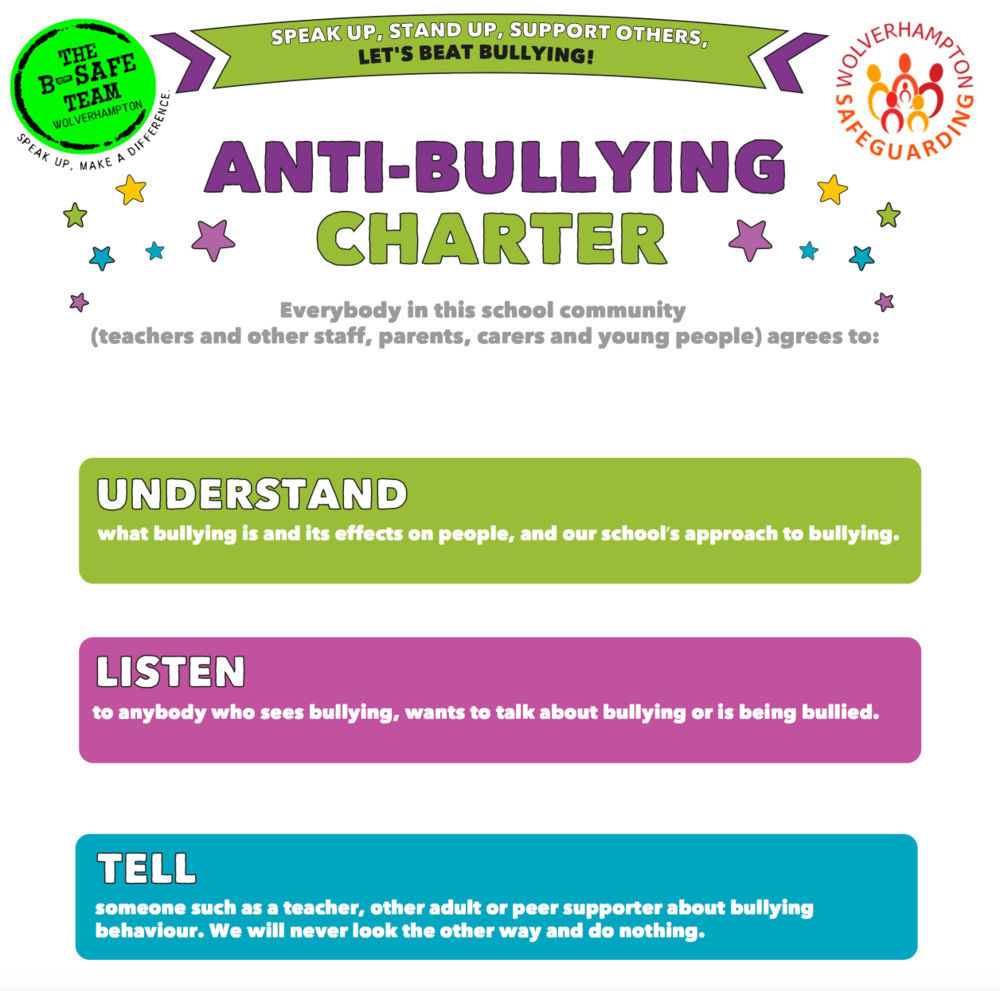 Download the Secondary Anti-bullying charter (PDF)