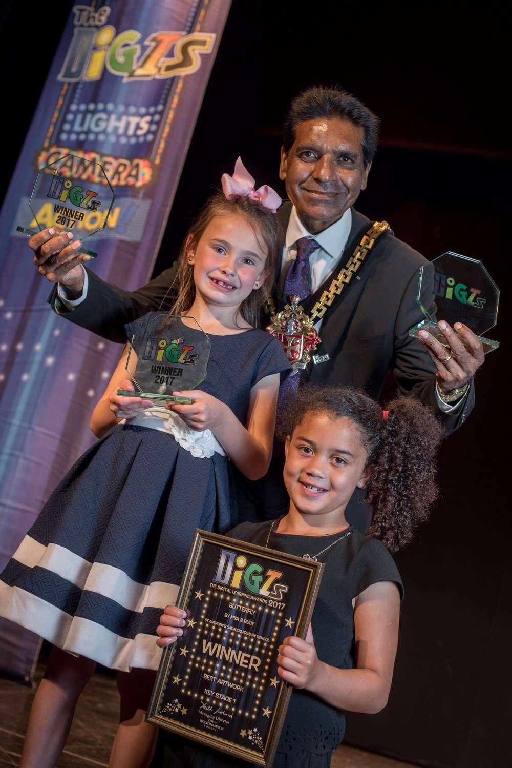 Award winners from the evening ceremony with The Mayor Of Wolverhampton, Councillor Elias Mattu