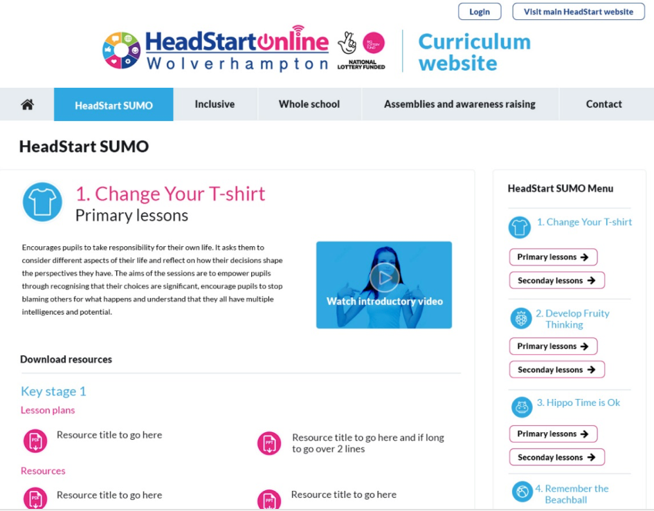 Curriculum site lesson page