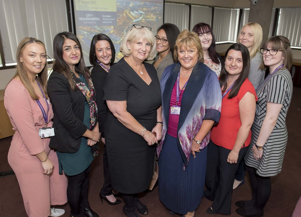 Claire Murdoch, national mental health director for NHS England, and Linda Sanders, the City of Wolverhampton Council's Strategic Director People, with members of the HeadStart Wolverhampton team including Amelia Chalack, Sunita Pallan Jhalli, Tara Bourne, Megan Williams, Nicola Holmes, Jessica Sharp and Emma Sayles.